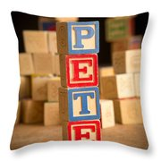 Pete - Alphabet Blocks Throw Pillow
