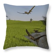 Peteinosaurus Reptiles On The Shore Throw Pillow