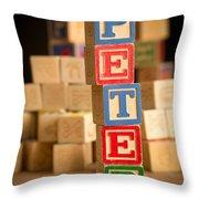 Peter - Alphabet Blocks Throw Pillow