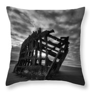Peter Iredale Shipwreck Black And White Throw Pillow