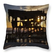 Peter Iredale Shipwreck Sunset Throw Pillow