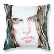 Peter Steele Watercolor Portrait Throw Pillow