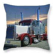 Peterbilt At The Beach  Throw Pillow