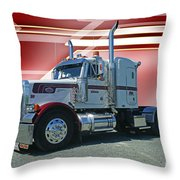 Peterbilt With Burgundy Abstract Throw Pillow