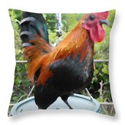 Petey The Old English Game Bantam Rooster Throw Pillow