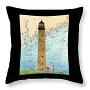 Petit Manan Island Lighthouse Me Nautical Chart Map Art Throw Pillow