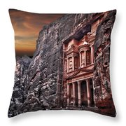 Petra The Treasury Throw Pillow by Dan Yeger