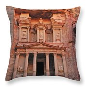 Petra Treasury Throw Pillow by Tony Beck