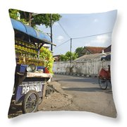 Petrol Stall And Cyclo Taxi In Solo City Indonesia Throw Pillow