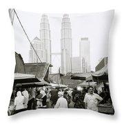 Petronas Over Kampung Baru Throw Pillow
