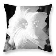 Petunia After Rain Throw Pillow