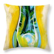 Petunia In Vase With Yellow Background Throw Pillow by Genevieve Esson