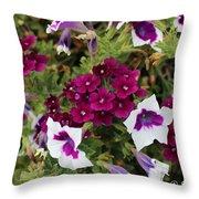 Petunias And Verbena I Throw Pillow