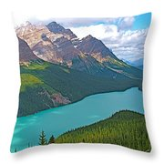 Peyto Lake Along Icefield Parkway In Alberta-canada Throw Pillow