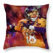 Peyton Manning Abstract 2 Throw Pillow by David G Paul