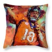 Peyton Manning Abstract 4 Throw Pillow
