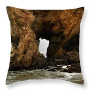 Pfeiffer Beach Rocks In Big Sur Throw Pillow