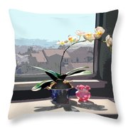 Phalaenopsis Orchid In Sunny Window Throw Pillow