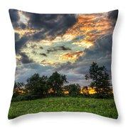 Phantom Sunset Over Sunflower Fields  Throw Pillow