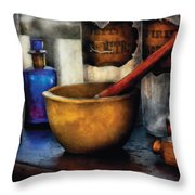Pharmacist - Mortar And Pestle Throw Pillow by Mike Savad