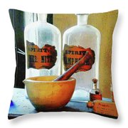 Pharmacist - Mortar And Pestle With Bottles Throw Pillow