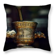 Pharmacy Brass Mortar And Pestle With Eagle Handles Throw Pillow