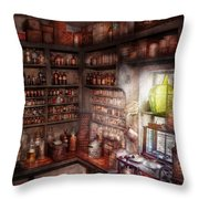 Pharmacy - Equipment - Merlin's Study Throw Pillow by Mike Savad