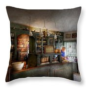 Pharmacy - Morning Preparations Throw Pillow by Mike Savad