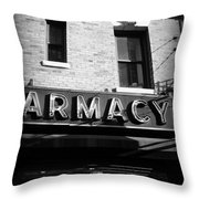 Pharmacy - Storefronts Of New York Throw Pillow