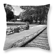 Phelps Ny Train Station In Black And White Throw Pillow