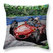 Phil Hill At Nurburgring. Throw Pillow