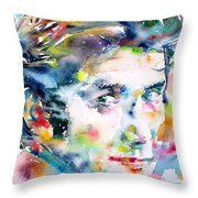 Phil Ochs - Watercolor Portrait Throw Pillow