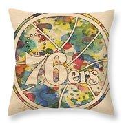 Philadelphia 76ers Retro Poster Throw Pillow