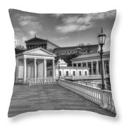 Philadelphia Art Museum And Waterworks 11 Bw Throw Pillow