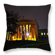 Philadelphia Art Museum  At Night From The Rear Throw Pillow