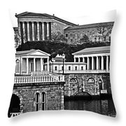 Philadelphia Art Museum At The Water Works In Black And White Throw Pillow