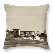 Philadelphia Art Museum With Cityscape In Sepia Throw Pillow