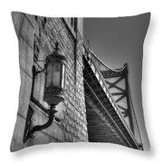 Philadelphia Benjamin Franklin Bridge 2 Bw Throw Pillow