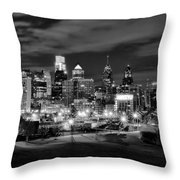 Philadelphia Black And White Cityscape Throw Pillow