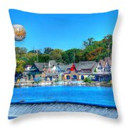 Philadelphia  Boat House Row And Zoo Balloon Throw Pillow