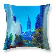 Philadelphia City Hall And Swan Fountain 2  Throw Pillow
