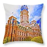 Philadelphia City Hall - Hdr Throw Pillow