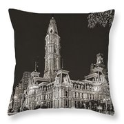 Philadelphia City Hall Mono Throw Pillow
