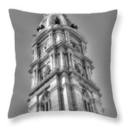 Philadelphia City Hall Tower Bw Throw Pillow