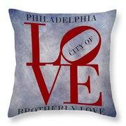 Philadelphia City Of Brotherly Love  Throw Pillow