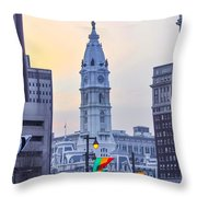 Philadelphia Cityhall In The Morning Throw Pillow