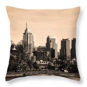 Philadelphia Cityscape In Sepia Throw Pillow