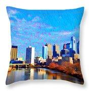 Philadelphia Cityscape Rendering Throw Pillow