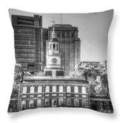 Philadelphia Independence Hall 6 Bw Throw Pillow