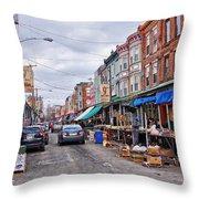Philadelphia Italian Market 2 Throw Pillow